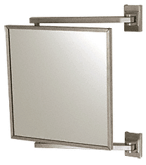 "CRL Brushed Nickel 11"" x 11"" Pivot-N-Vue Double Hinged Mirror CRL PV11BN"