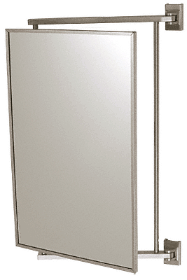 "CRL Brushed Nickel 14"" x 22"" Pivot-N-Vue Double Hinged Mirror CRL PV14BN"