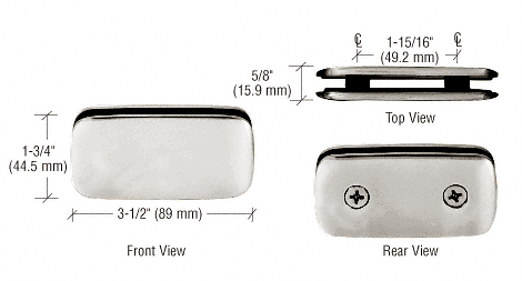 CRL Polished Nickel Roman Style 180 Degree Double Stud Glass Clamp CRL R0M184PN