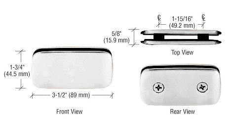 CRL Satin Chrome Roman Style 180 Degree Double Stud Glass Clamp CRL R0M184SC