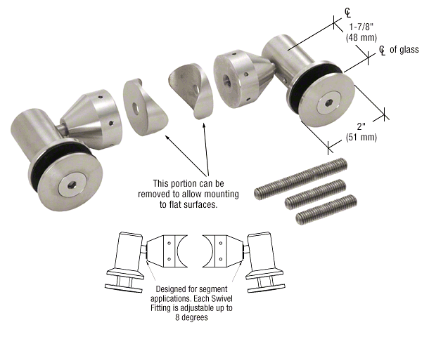 "CRL Brushed Stainless Double Arm Swivel Fitting Set for 1/2"" Glass CRL RB50SBS"