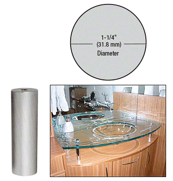 "CRL Brushed Stainless 1-1/4"" Diameter by 4"" Standoff Base CRL S0B1144BS"