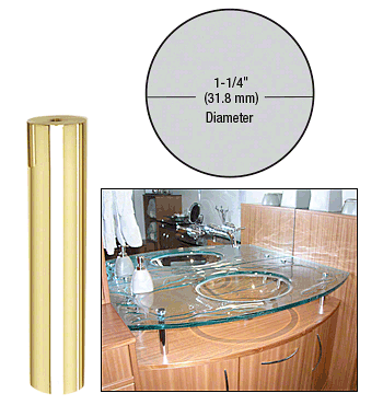 "CRL Brass 1-1/4"" Diameter by 6"" Standoff Base CRL S0B1146BR"