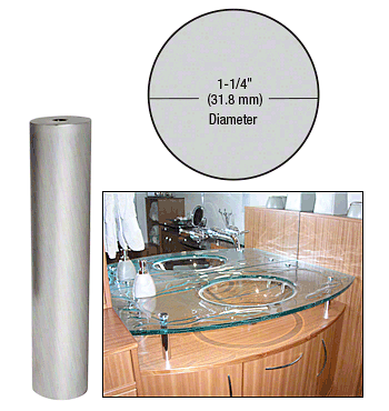 "CRL Brushed Stainless 1-1/4"" Diameter by 6"" Standoff Base CRL S0B1146BS"