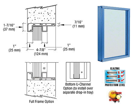 CRL Custom Powder Painted (Specify) Aluminum Standard Inset Frame Exterior Glazed Vision Window CRL S1VEP