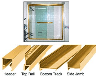 Brite Gold Anodized Frameless Double MK Series Sliding Shower Door Kit - 60 inch H x 60 inch W for 3/8 inch Glass - CRL S386060BGA