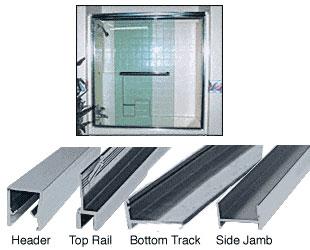 Brushed Nickel Frameless Double MK Series Sliding Shower Door Kit - 60 inch H x 72 inch W for 3/8 inch Glass - CRL S386072BN