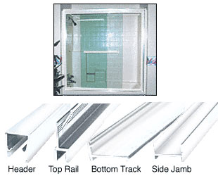 White Frameless Double MK Series Sliding Shower Door Kit - 60 inch H x 72 inch W for 3/8 inch Glass - CRL S386072W