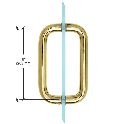 """CRL Brass 8"""" Back-to-Back Solid Brass 1"""" Diameter Pull Handle Without Metal Washers CRL SBP81BR"""