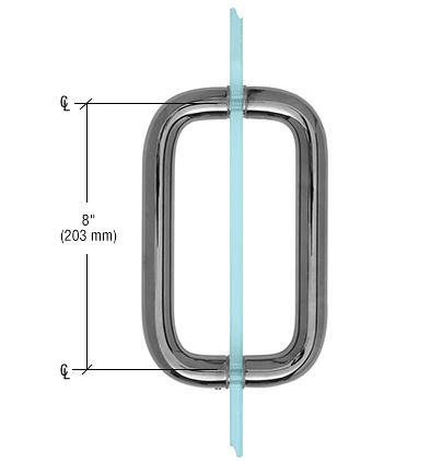 "CRL Gun Metal 8"" Back-to-Back Solid Brass 1"" Diameter Pull Handle Without Metal Washers CRL SBP81GM"