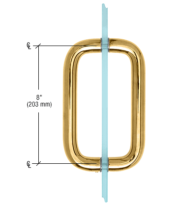 """CRL Gold Plated 8"""" Back-to-Back Solid Brass 1"""" Diameter Pull Handle Without Metal Washers CRL SBP81GP"""