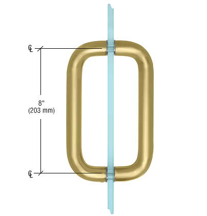 """CRL Satin Brass 8"""" Back-to-Back Solid Brass 1"""" Diameter Pull Handle Without Metal Washers CRL SBP81SB"""