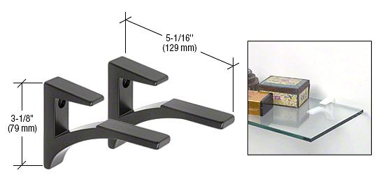 """CRL Black - Aluminum Shelf Clip for 3/8"""" to 1/2"""" Glass CRL SC5BL"""