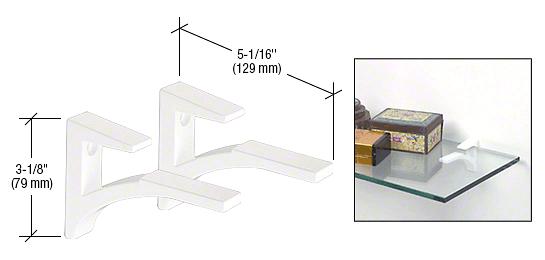 """CRL White - Aluminum Shelf Clip for 3/8"""" to 1/2"""" Glass CRL SC5W"""