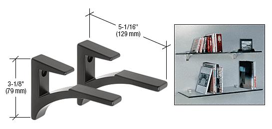 """CRL Black - Aluminum Shelf Bracket for 5/8"""" to 3/4"""" Glass CRL SC75BL"""
