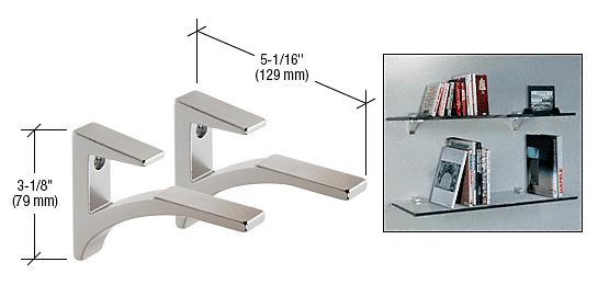 """CRL Chrome - Aluminum Shelf Bracket for 5/8"""" to 3/4"""" Glass CRL SC75CH"""