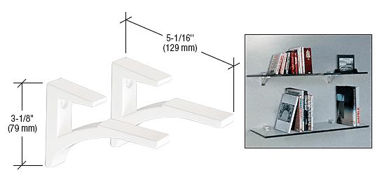 """CRL White - Aluminum Shelf Bracket for 5/8"""" to 3/4"""" Glass CRL SC75W"""