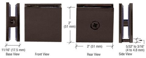 Oil Rubbed Bronze Square Style Hole-in-Glass Fixed Panel U-Clamp - CRL SCU4ORB