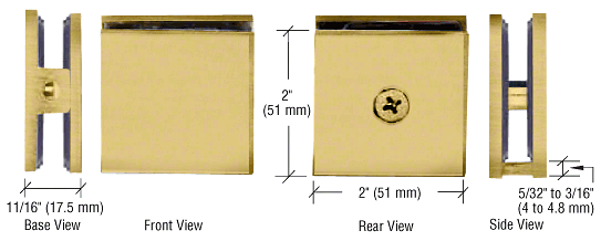 CRL Satin Brass Square Style Hole-in-Glass Fixed Panel U-Clamp CRL SCU4SB