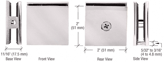 CRL Satin Nickel Square Style Hole-in-Glass Fixed Panel U-Clamp CRL SCU4SN