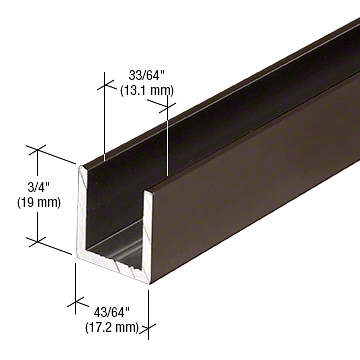"CRL Oil Rubbed Bronze 1/2"" Fixed Panel Shower Door Deep U-Channel - 95"" CRL SDCD120RB"