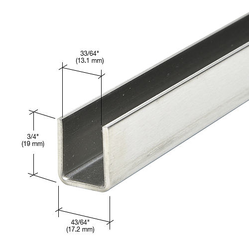 """CRL Brushed Stainless 1/2"""" Fixed Panel Shower Door Deep U-Channel - 95"""" CRL SDCD12BS"""