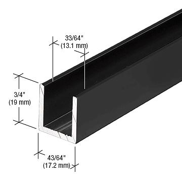 """CRL Matte Black 1/2"""" Fixed Panel Shower Door Deep U-Channel - 95"""" CRL SDCD12MBL"""