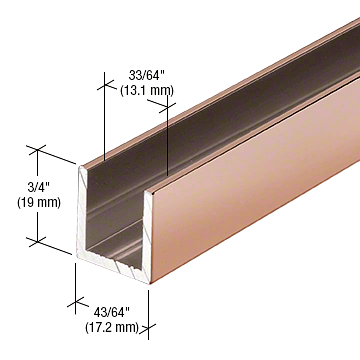 "CRL Polished Copper 1/2"" Fixed Panel Shower Door Deep U-Channel - 95"" CRL SDCD12PC0"