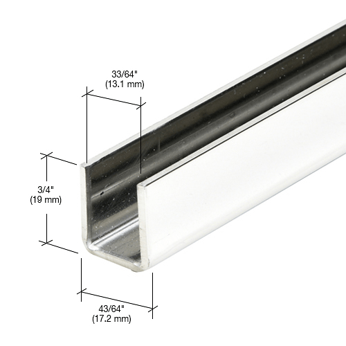 """CRL Polished Stainless 1/2"""" Fixed Panel Shower Door Deep U-Channel - 95"""" CRL SDCD12PS"""