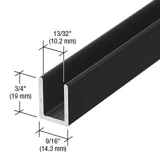 """CRL Black 3/8"""" Fixed Panel Shower Door Deep U-Channel - 95"""" CRL SDCD38BL"""