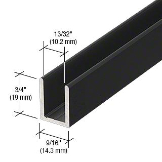 """CRL Matte Black 3/8"""" Fixed Panel Shower Door Deep U-Channel - 95"""" CRL SDCD38MBL"""