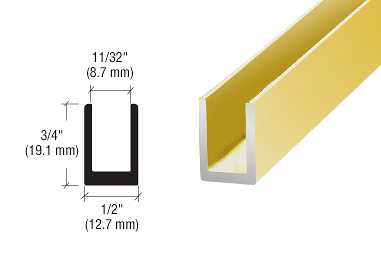 "CRL Brite Gold Anodized 5/16"" Single Aluminum U-Channel CRL SDCD516BGA"