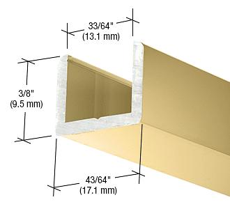"CRL Brite Gold Anodized Frameless Shower Door Aluminum Regular U-Channel for 1/2"" Thick Glass CRL SDCR12BGA"