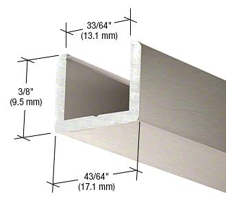 "CRL Brushed Nickel Frameless Shower Door Aluminum Regular U-Channel for 1/2"" Thick Glass CRL SDCR12BN"