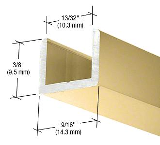 "CRL Brite Gold Anodized Frameless Shower Door Aluminum Regular U-Channel for 3/8"" Thick Glass CRL SDCR38BGA"