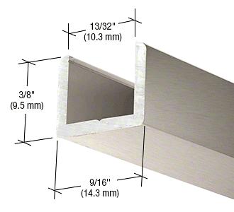 "CRL Brushed Nickel Frameless Shower Door Aluminum Regular U-Channel for 3/8"" Thick Glass CRL SDCR38BN"