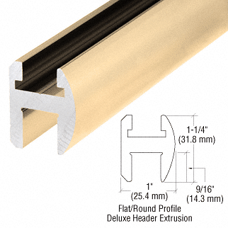 "CRL Brite Gold Anodized Deluxe Shower Door Header Kit - 144"" CRL SDH144BGA"