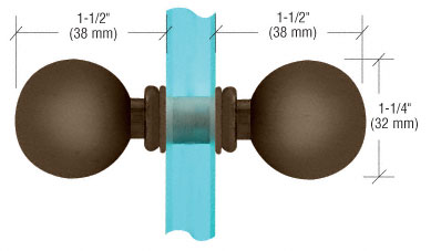 Oil Rubbed Bronze Ball Style Back-to-Back Knob - CRL SDK0750RB