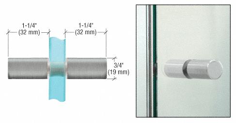 CRL Brushed Satin Chrome Cylinder Style Back-to-Back Shower Door Knobs CRL SDK112BSC