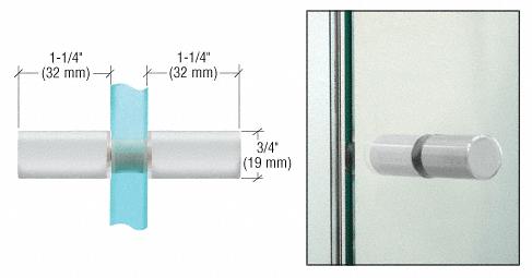 CRL Satin Chrome Cylinder Style Back-to-Back Shower Door Knobs CRL SDK112SC
