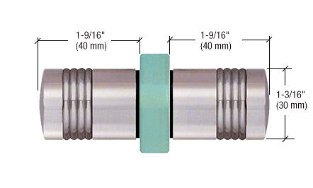 CRL Brushed Nickel Knob/Brushed Nickel Ring - Flush Ring Style Back-to-Back Shower Door Knobs CRL SDK118BNBN