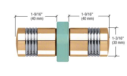 CRL Brass Knob/Chrome Ring - Flush Ring Style Back-to-Back Shower Door Knobs CRL SDK118BR