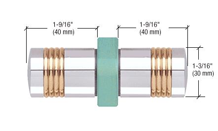 CRL Chrome Knob/Brass Ring - Flush Ring Style Back-to-Back Shower Door Knobs CRL SDK118CH