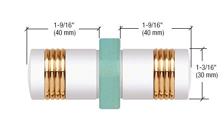 CRL White Knob/Brass Ring - Flush Ring Style Back-to-Back Shower Door Knobs CRL SDK118W