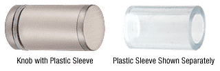 CRL Brushed Nickel Cylinder Style Single-Sided Shower Door Knob With Plastic Sleeve CRL SDKP212BN