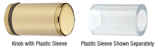 CRL Brass Cylinder Style Single-Sided Shower Door Knob With Plastic Sleeve CRL SDKP212BR