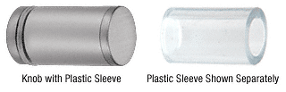 CRL Brushed Satin Chrome Cylinder Style Single-Sided Shower Door Knob With Plastic Sleeve CRL SDKP212BSC
