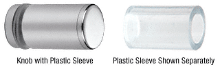 CRL Chrome Cylinder Style Single-Sided Shower Door Knob With Plastic Sleeve CRL SDKP212CH
