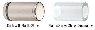 CRL Polished Nickel Cylinder Style Single-Sided Shower Door Knob With Plastic Sleeve CRL SDKP212PN