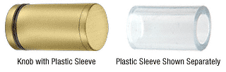 CRL Satin Brass Cylinder Style Single-Sided Shower Door Knob With Plastic Sleeve CRL SDKP212SB
